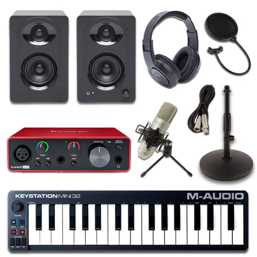 M-Audio Keystation 32 MK3 Scarlett Solo Samson M30 SR350 Essentials Bundle