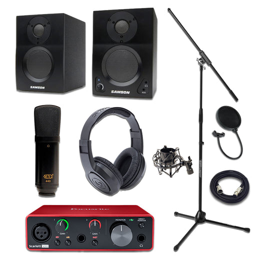 MXL440 Focusrite Solo Samson BT3 SR350 Essentials Bundle