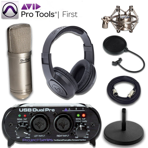 ART Dual Pre Interface AS800 Microphone Studio Bundle with Pro Tools First