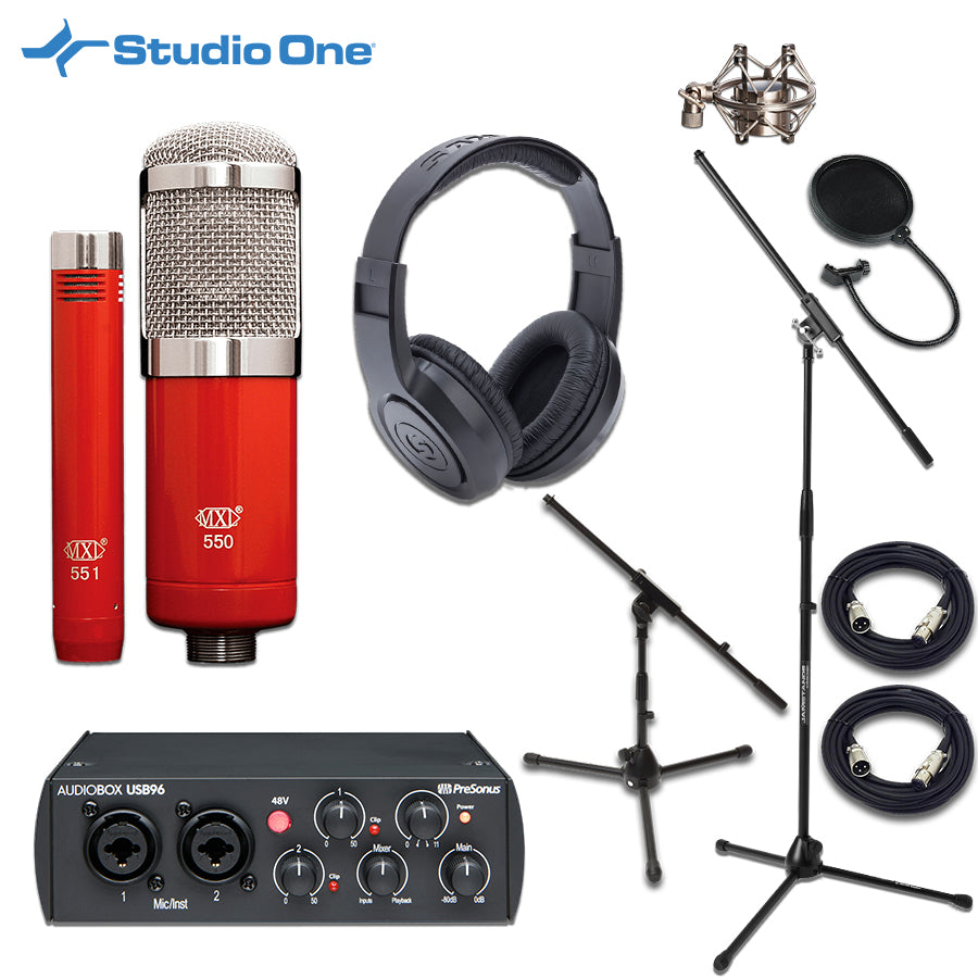 PreSonus AudioBox USB 96 25th Interface MXL 550/551R Studio Bundle w/ Studio One Software