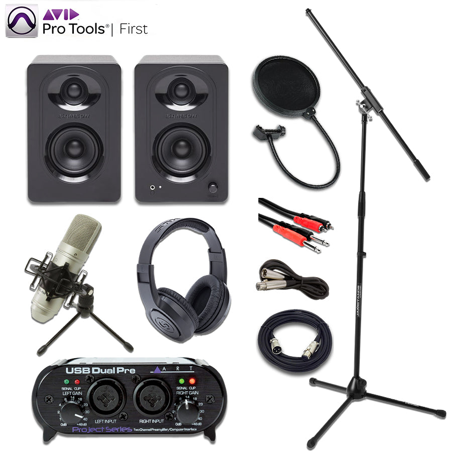 Pro Tools First Recording Bundle w/ Art Dual Pre Interface, Tascam TM-80 microphone, Samson M30 Monitors, Samson SR350 Headphones