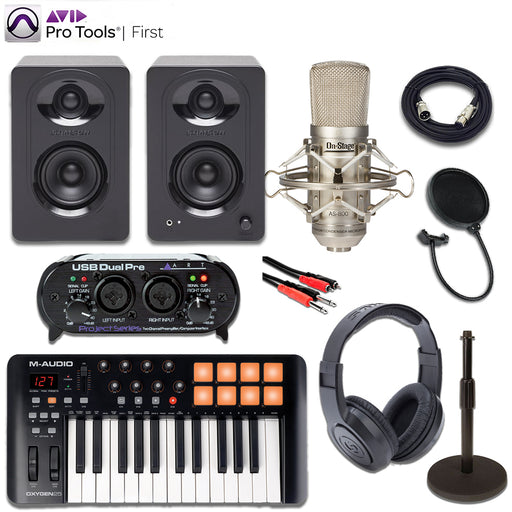 Pro Tools First Recording Bundle w/ M-Audio Oxygen 25 Keyboard, ART USB Dual Pre, On-Stage AS800 Microphone, Samson M30 Monitors, Samson SR350 Headphones