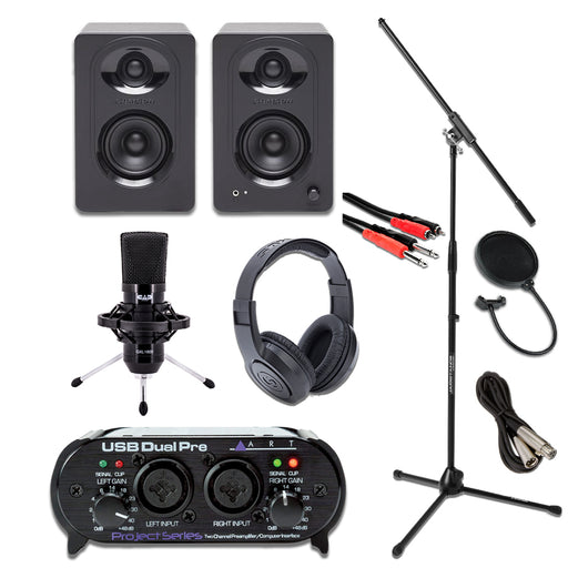 ART Dual Pre USB Interface GXL1800 Samson M30 Essentials Bundle