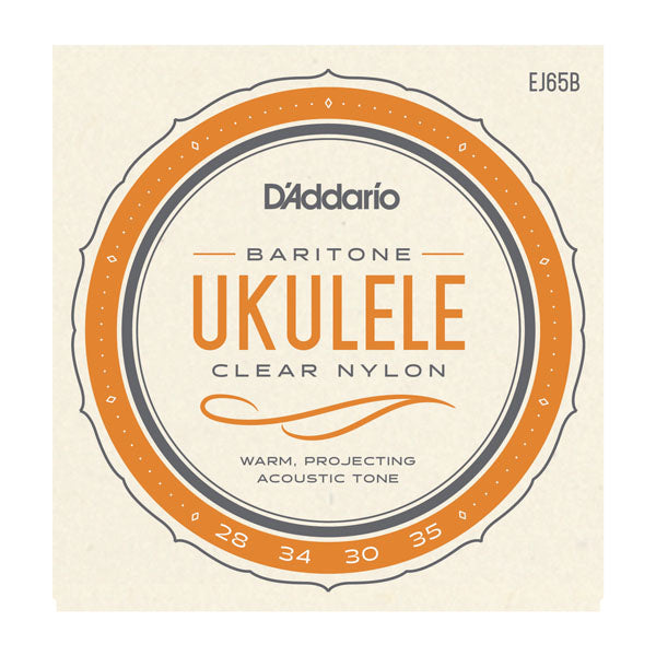 D'Addario EJ65B Set Baritone Ukulele Custom Extruded Clear Nylon / Silver