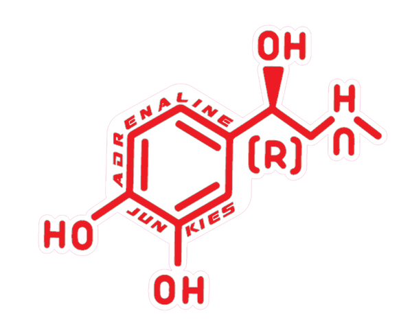 Adrenaline Junkies Molecule Sticker (White Back Round)