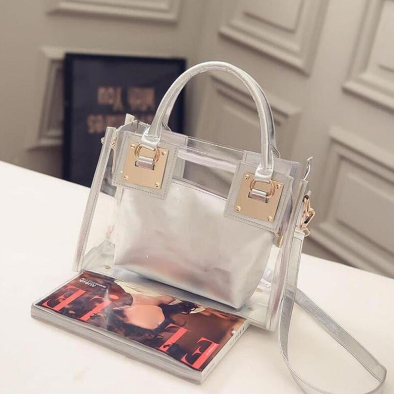 New Women Clear Transparent Shoulder Bag Fashion High Quality ABS