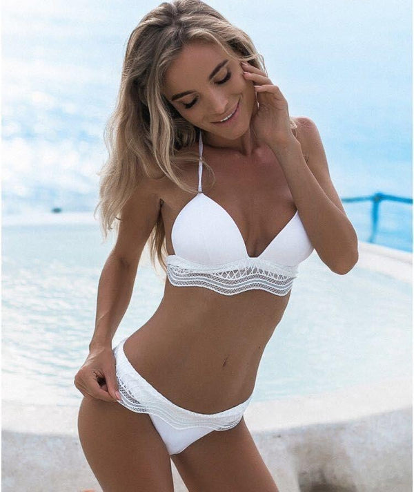 Womens lace Padded Push-up white 2pcs high waist Bikini Set
