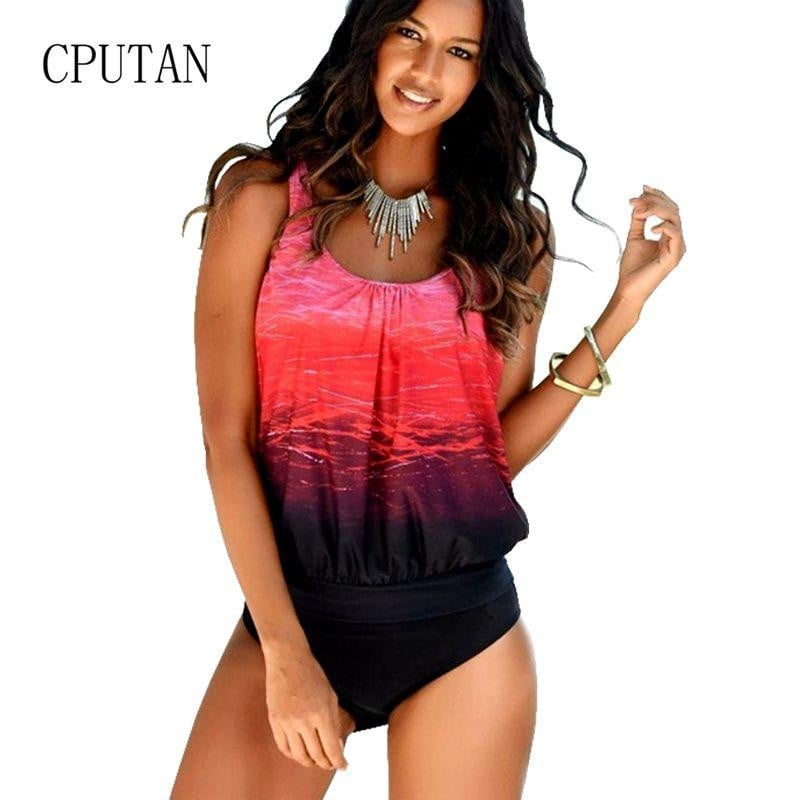 b0810fc94c784 Gradient Tankini Swimsuits Women 2019 Plus Size Sexy Swimwear Female Vintage  Sporty Two Piece swimming Suit