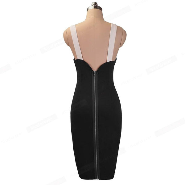 Nice-forever Vintage Sexy Blackless  Round Neck  Female Sheath Women Dress