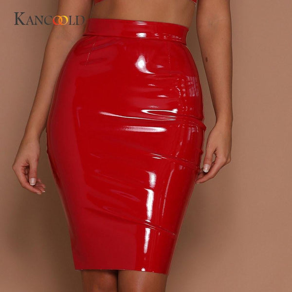 KANCOOLD women's Skirts girl Women sexy Skirts Leather Sexy Bodycon Skirt Sexy Elastic Short Skirt Solid o10 oc4