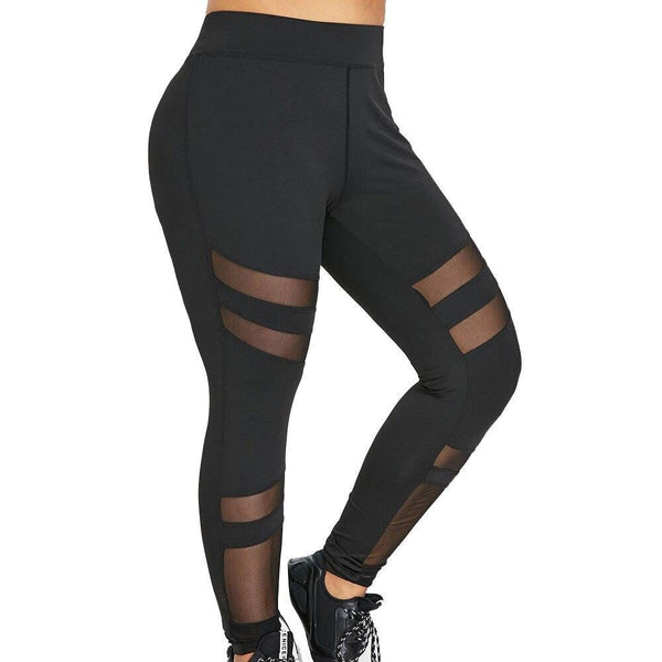KLV BIG SIZE Sexy Mesh Patchwork Sports Leggings Women Plus Size Mid Waist Solid Mesh Patchwork Elastic Pants Trousers   #@F