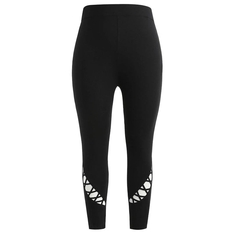 KLV fitness sport leggings SOLID BLACK Women Plus Size Mid Waist Solid Hollow Out Elastic Pants Trousers 2019 #@F