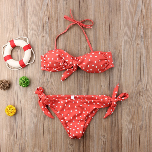 Popular Sexy Women Strapless bandage Bandeau Push Up dot printed Bikini Set