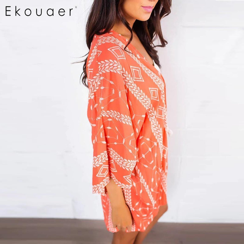 2d217aa537 Printed Sleeve Women Chiffon Cardigan Spring Protection Casual Sun Floral  Summer Swimsuit Kimono Cover up Beach