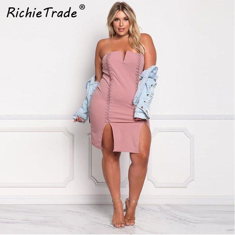 77858c16a51 RICHIETRADE Strapless Off Shoulder Sexy Dress Solid Lace Up Mini Plus Size Dress  Women Summer 2017