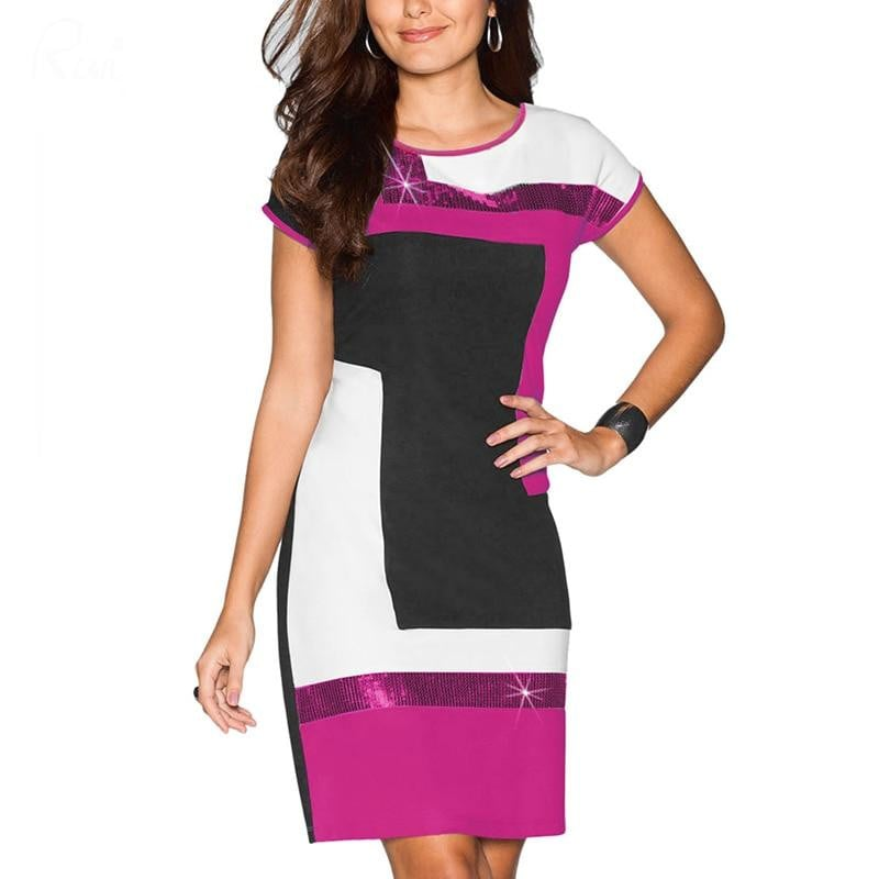 88b784bf43 Ruiyige 2018 Women Daily Shift Dress Summer O-Neck Pacthwork ...
