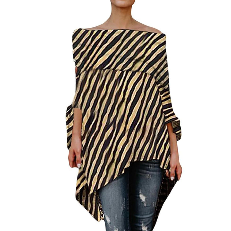 8b7e5e8b1481e Sexy Women Off Shoulder Leopard Printed Blouse Asymmetric Shirts Casual  Long Sleeve Tops Blouse Streetwear Blusas
