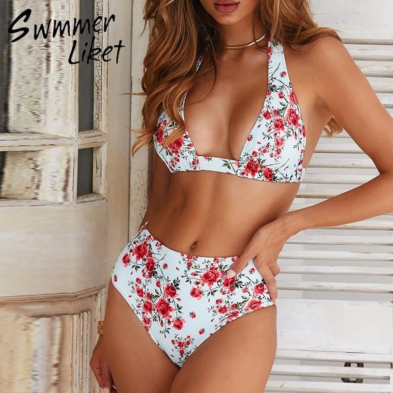 Summer 2019 new bathing suit Large size swimsuit female push up sexy swimwear High waist bikini micro Floral print biquinis XL