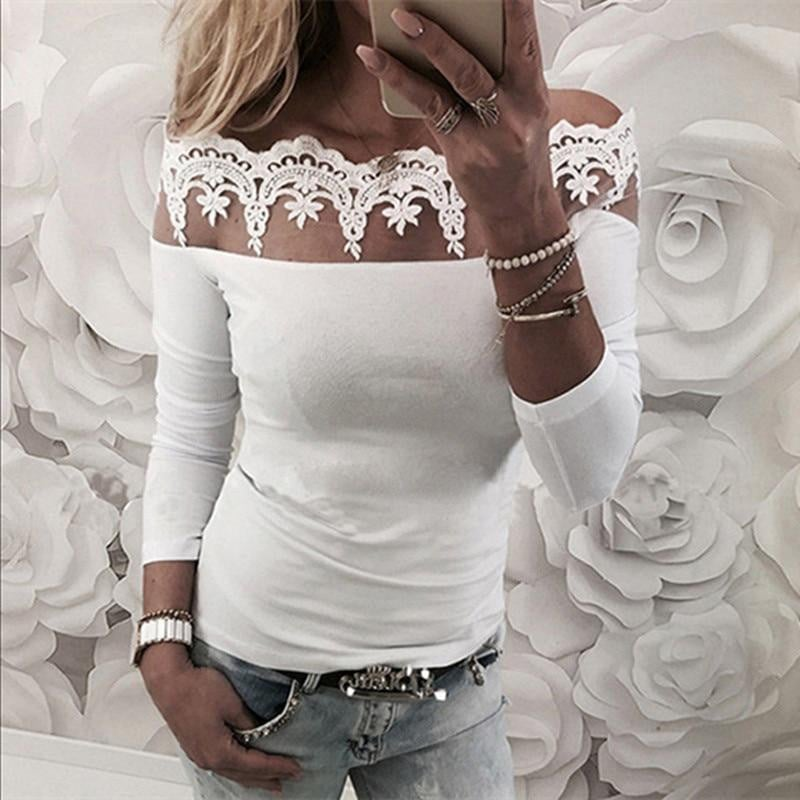12f13059b98 Women Tops and Blouse Sexy Floral Lace Off Shoulder Plain Blouse Autumn  Fashion Long Sleeve Stapless
