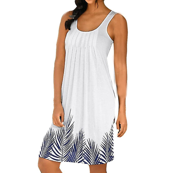 Womens Sleeveless Dress Print Fashion Dress Ladies Holiday Summer White Dresses Casual beach dresses vestidos verano 2019 NEW