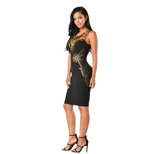 Womens Summer Dresses 2018 Summer Sleeveless O Neck Black Gold Sequin Patchwork Slim Bodycon Chinese Evening Casual Party Dress