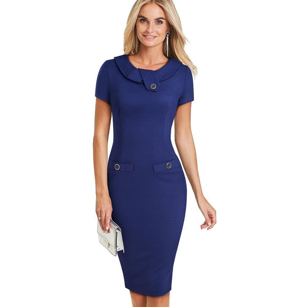 Summer Elegant Solid Color Button Business Dress Wear To Work Turn-down Collar Short Sleeve Bodycon Women Dress EB511