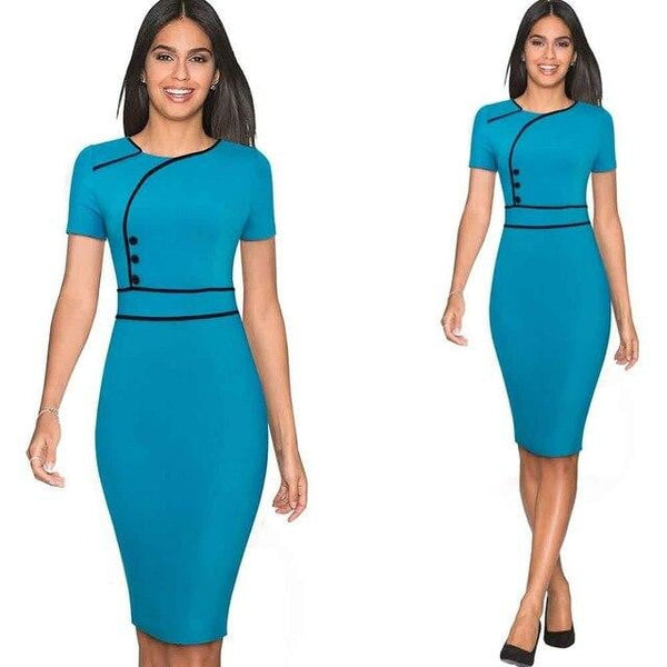 Women Elegant Button Round Neck Work Office Business Solid color Dress