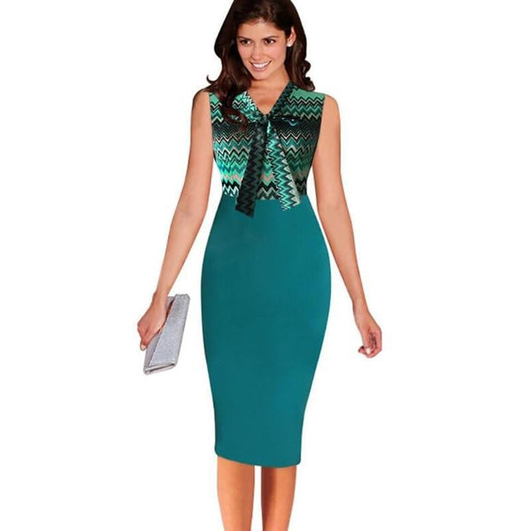 Women Autumn Fashion Elegant Sexy Sleeveless Patchwork Bow Ribbon Bodycon Office Business Work Dress Ruffles Casual Pencil Dress