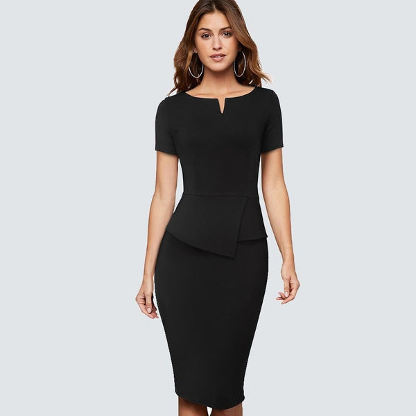 Women Elegant Solid color Business Pencil dress Short sleeve Office Lady Fit bodycon Casual sundress HB525