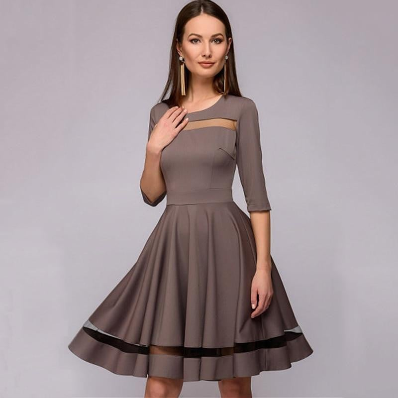 Elegant Mesh Patchwork A-line Dress Women 2019 Spring Summer