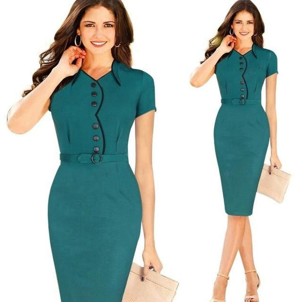 Summer Elegant Formal Business Dresses Wear To Work Solid Colors Stretch Short Sleeve Bodycon Women Dress With Sashes  GB201