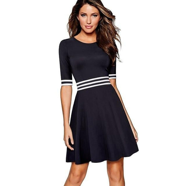 Women White and Dark Blue Striped Patchwork Half Sleeve  Casual Work  Dress EA059