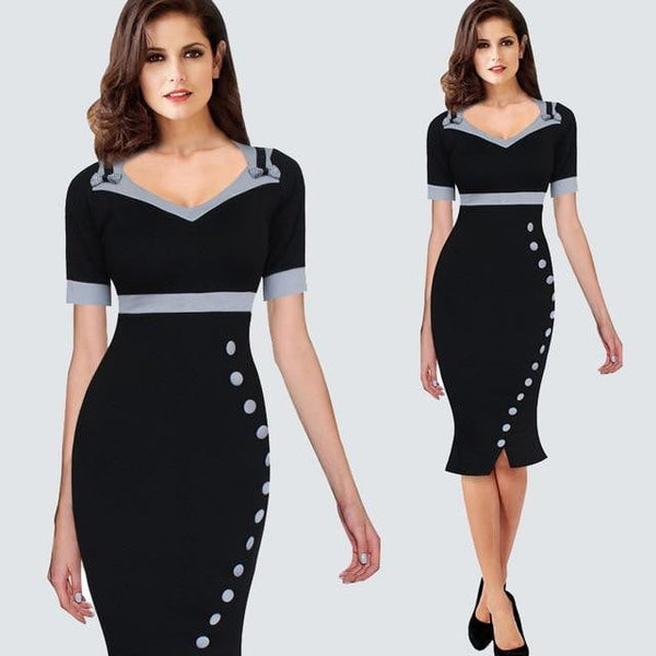 Vintage Mermaid Women Office Dress Summer Casual Contrast Patchwork Sheath Bodycon Party Dress