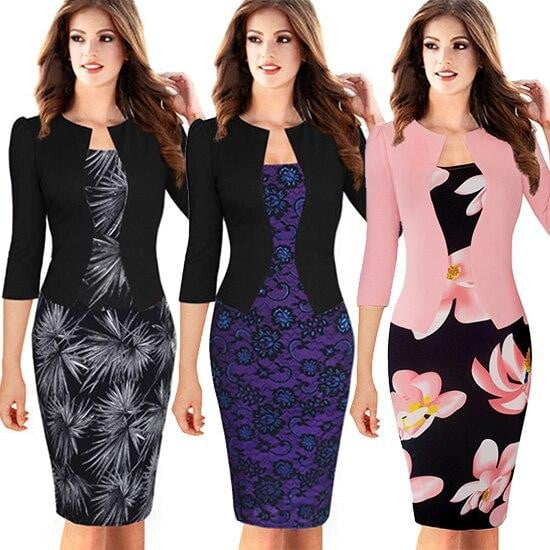 Women Autumn Elegant One-piece Formal Business Floral Printed Dress