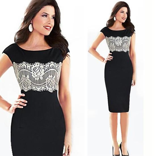 New Summer Women Elegant Floral Lace O Neck Sleeveless Dress