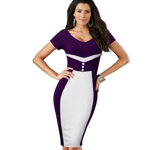 Summer Casual Women Colorblock Contrast Short Sleeve Office Business Sheath Stretch Patchwork dress