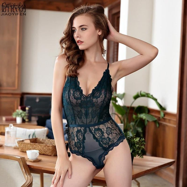 Sexy Lace Onesies Sleepwear Ultra thin Transparent Sleeveless Women's Pajamas Embroidery Underwear