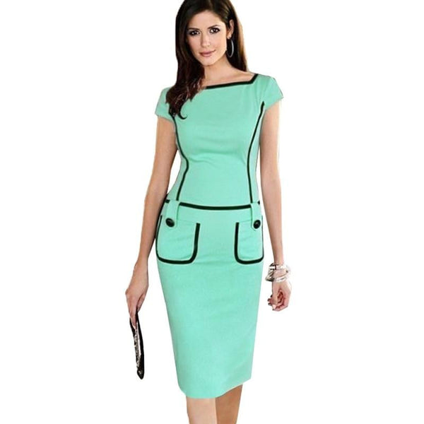 New Summer Fresh Color Women Casual  Work Office  Dress 789