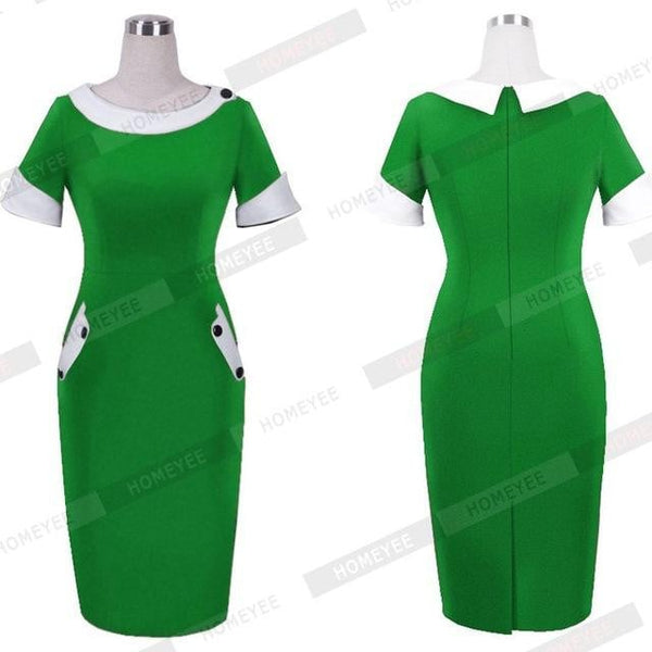 Solid Buttons Bodycon Women Elegant Office Round Neck Pencil Dress With Pocket