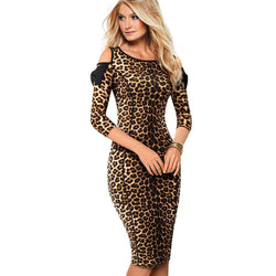 Stylish Bow Knot Cold Shoulder Fitted Leopard Office Dress