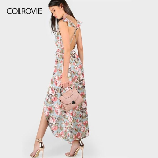 COLROVIE V-Neck Crisscross Backless Floral Rose Print Wrap Belted Boho Beach Maxi Dress 2019