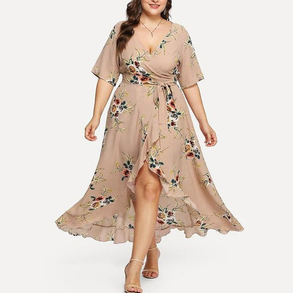 Free Ostrich 2019 Plus Size Women Casual Short Sleeve V-neck Boho Flower Bohemian  Maxi Dress