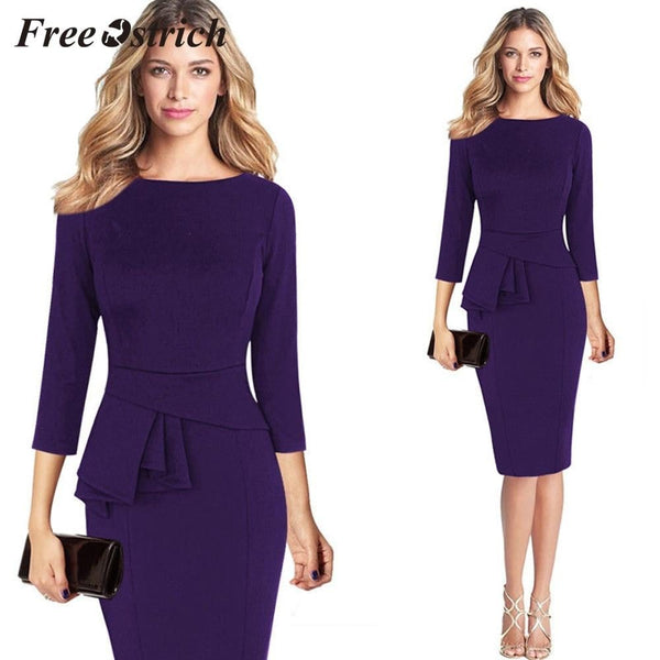 Free Ostrich 2019 Women Elegant Frill Peplum 3/4 Gown Sleeve Work Business Style dress