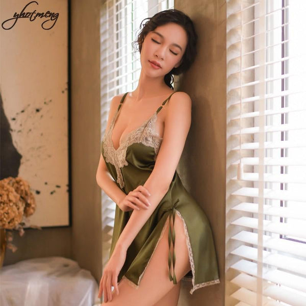 Yhotmeng sexy temptation female silk sexy lingerie female sling V-neck