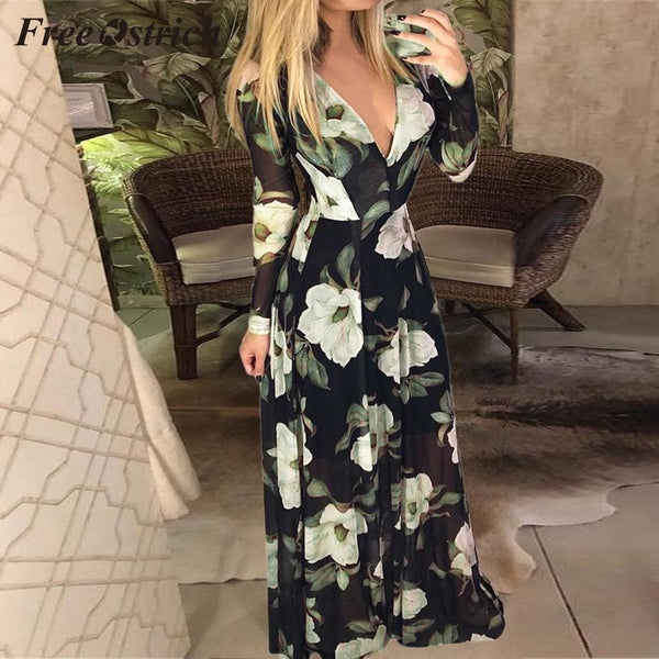 Free Ostrich 2019 Women Floral Print Long Sleeve High Waist DEEP V-neck Zipper Long Dress