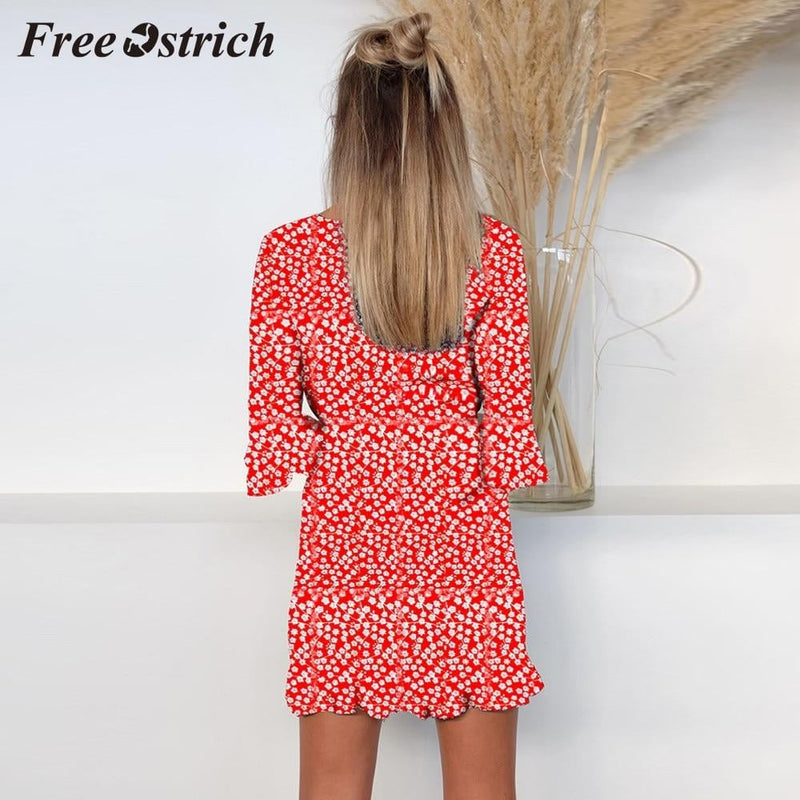 Free Ostrich 2019 Women Floral Printed Middle Sleeve V-neck Casual Dress