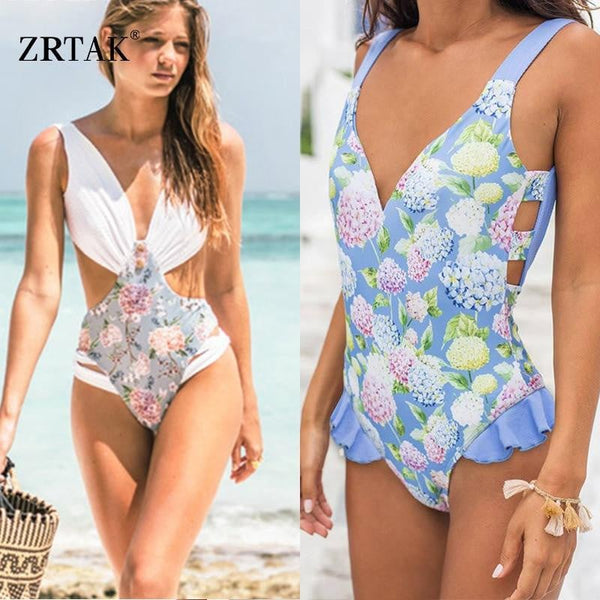 Zrtak One Piece and bikinis Swimsuit Sexy Backless Swimwear Female Deep V-neck Flower color Print Bandage