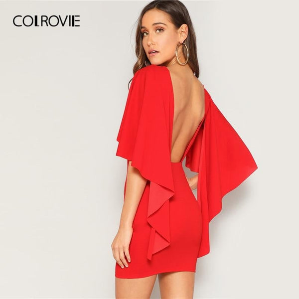 COLROVIE Red Solid Ruffle Open Back Cloak Sleeve Bodycon Sexy Dress