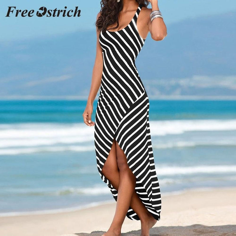 Free Ostrich 2019  Women Casual Sundress Sleeveless Stripes Loose Long Beach Dress