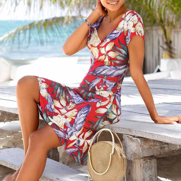 Womens Bohemian Floral Printed Dress
